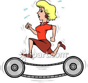 300x282 Running On Old Fashioned Treadmill Royalty Free Clipart Picture