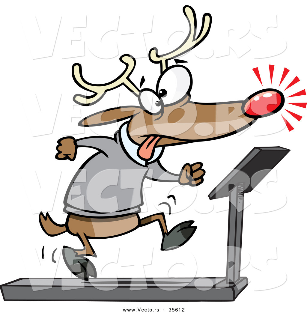 1024x1044 Cartoon Vector Of A Tired Christmas Reindeer Running On Treadmill