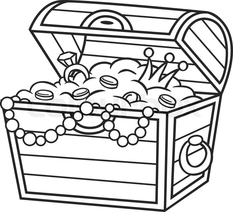 800x729 Coloring Book Treasure Chest Full Of Gold And Jewels. Stock