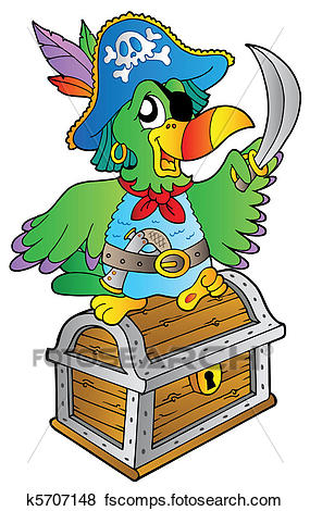 285x470 Clip Art Of Pirate Parrot On Treasure Chest K5707148