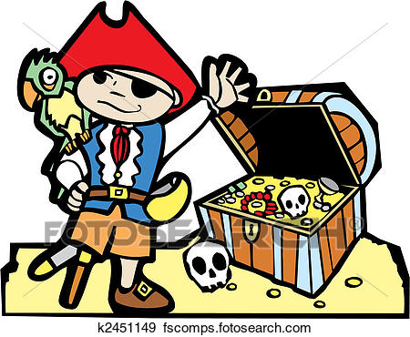 450x370 Clip Art Of Pirate With Treasure Chest K2451149