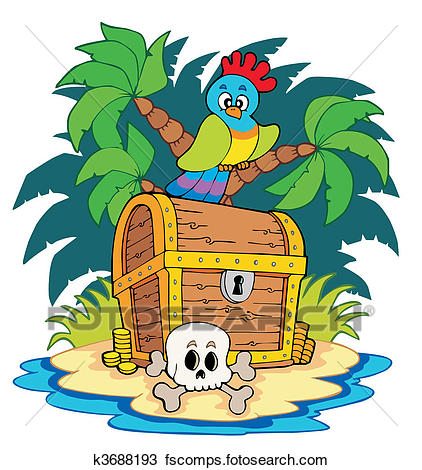 422x470 Clipart Of Pirate Island With Treasure Chest K3688193