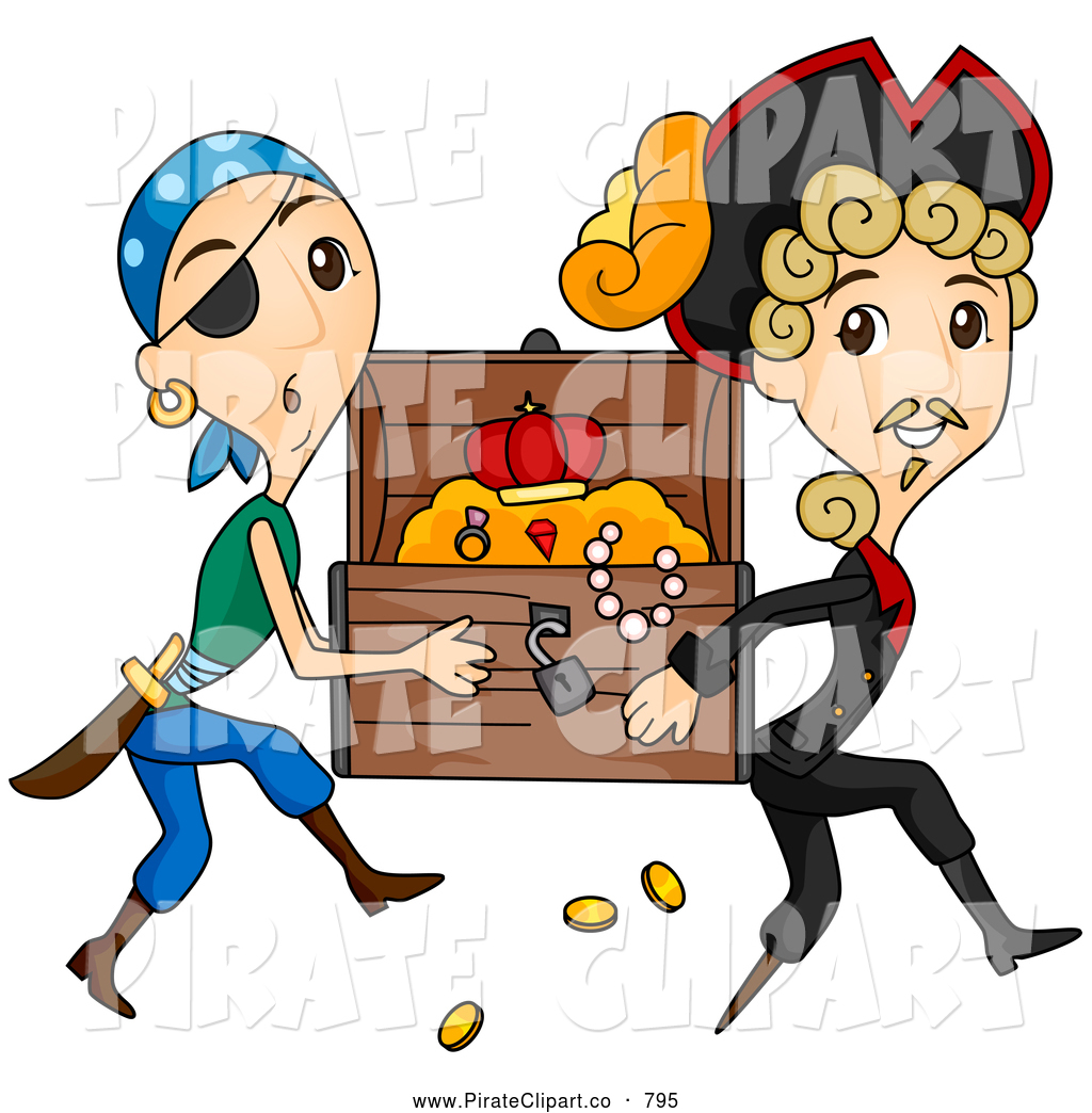 1024x1044 Vector Clip Art Of A Pair Of Pirates Stealing A Treasure Chest By