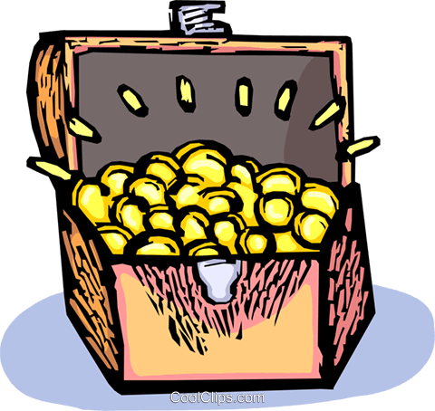 480x454 Treasure Chest Full Of Gold Pieces Royalty Free Vector Clip Art