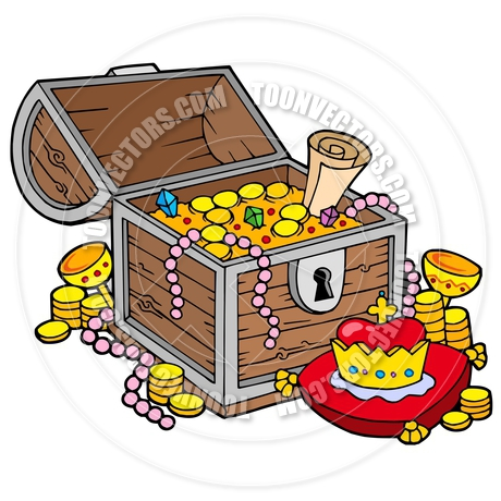 460x460 Cartoon Big Treasure Chest By Clairev Toon Vectors Eps