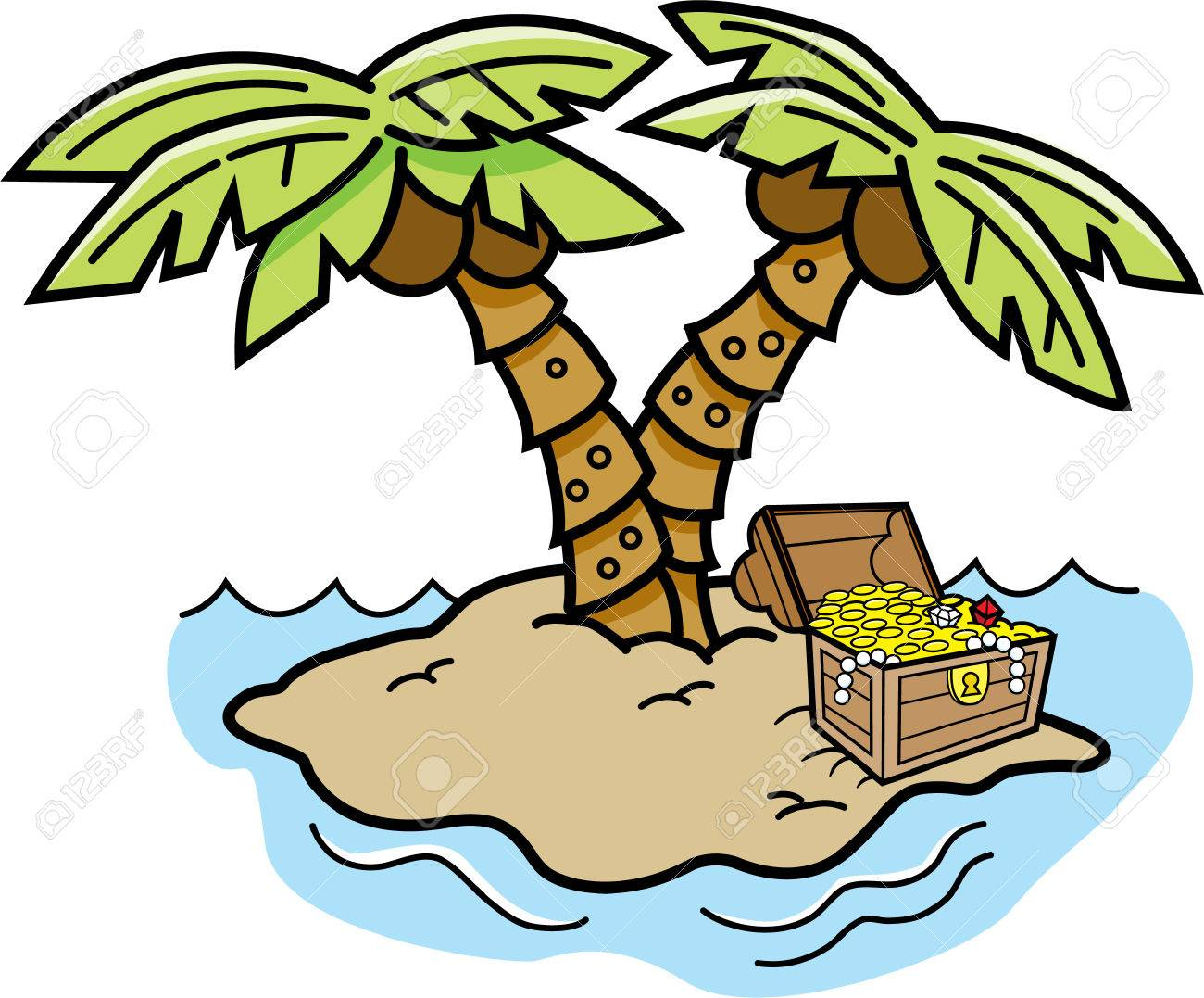 1300x1077 Cartoon Illustration Of An Island With Palm Trees And A Treasure