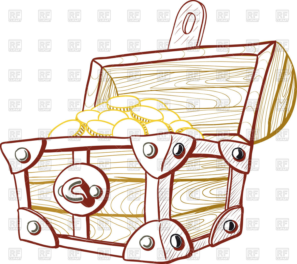 1200x1064 Old Wooden Pirate Treasure Chest With The Lid Open Royalty Free
