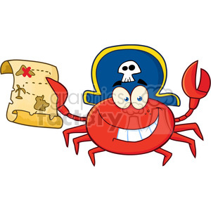 300x300 Royalty Free 5314 Pirate Crab Holding A Treasure Map 386521 Vector