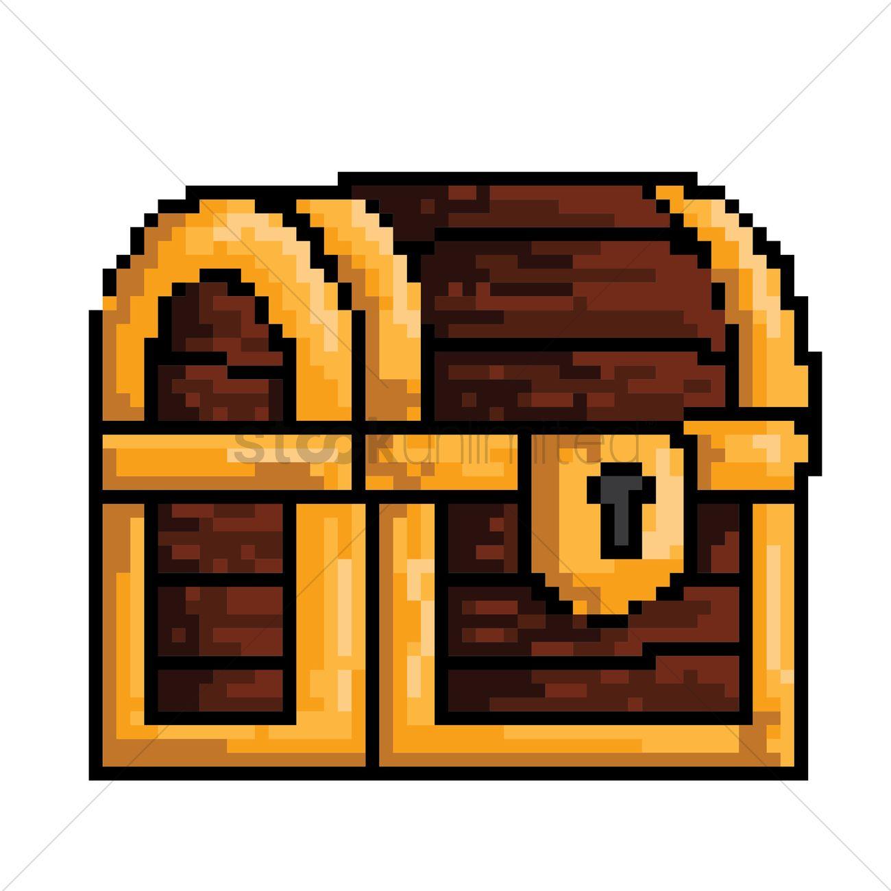 1300x1300 Pixel Art Treasure Chest Vector Image