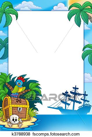 317x470 Stock Illustration Of Pirate Frame With Treasure Island K3788938