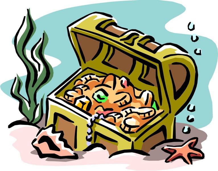 766x600 Underwater Treasure Chest Clipart