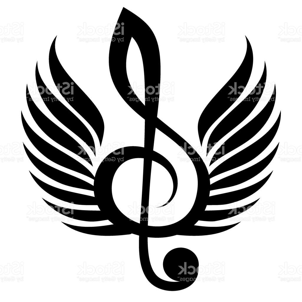 1024x1024 Best Black Treble Clef With Wings Vector Illustration Pictures