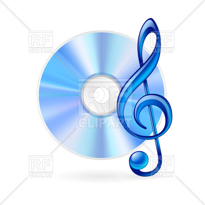 400x400 Cd And Treble Clef Royalty Free Vector Clip Art Image