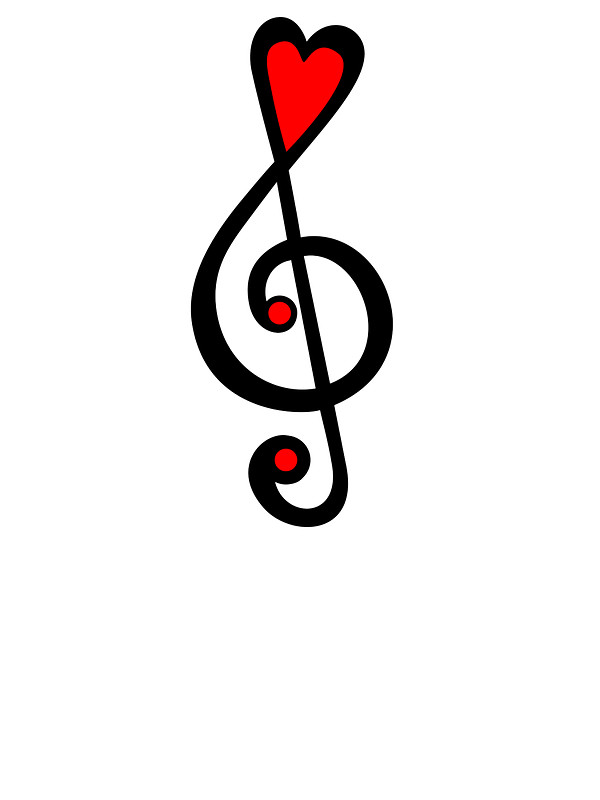 600x800 Music Clef Heart, Love, Music, Treble Clef, Classic Stickers By