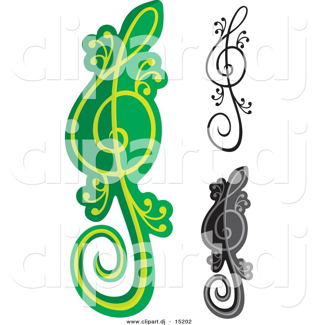 1024x1044 Vector Clipart Of A Lizard Treble Clef Notes