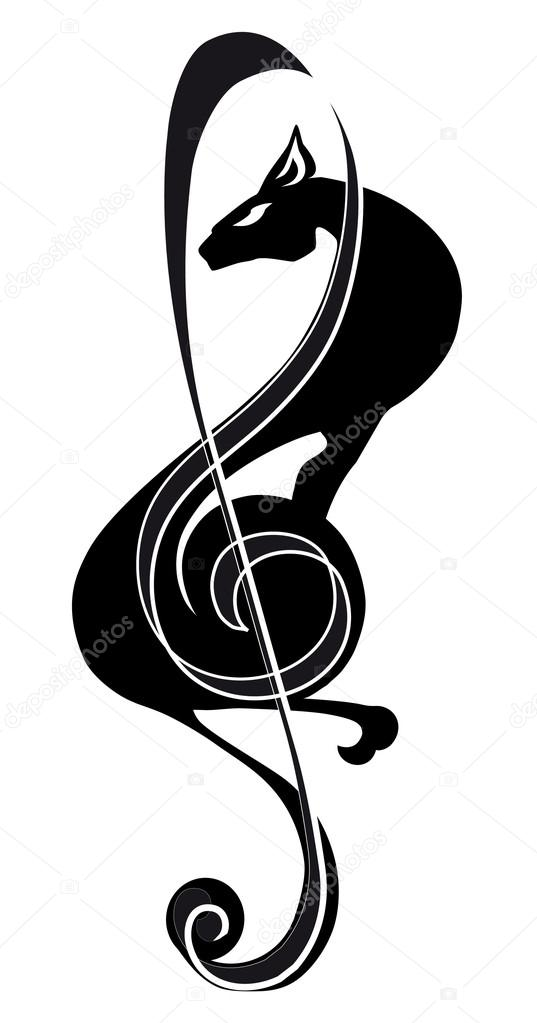 537x1023 Treble Clef, Cat, Isolated Black Image On A White Background