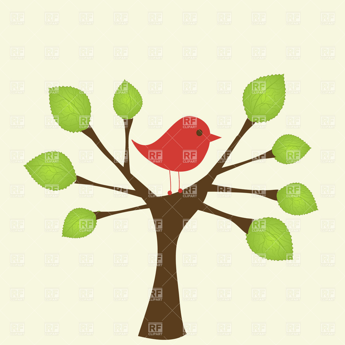 1200x1200 Cartoon bird on a tree Royalty Free Vector Clip Art Image
