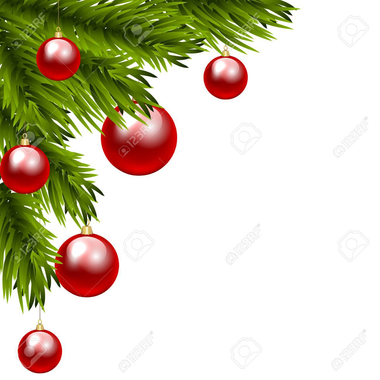 1300x1300 Christmas Tree Branch With Three Colorful Baubles. Clip Art