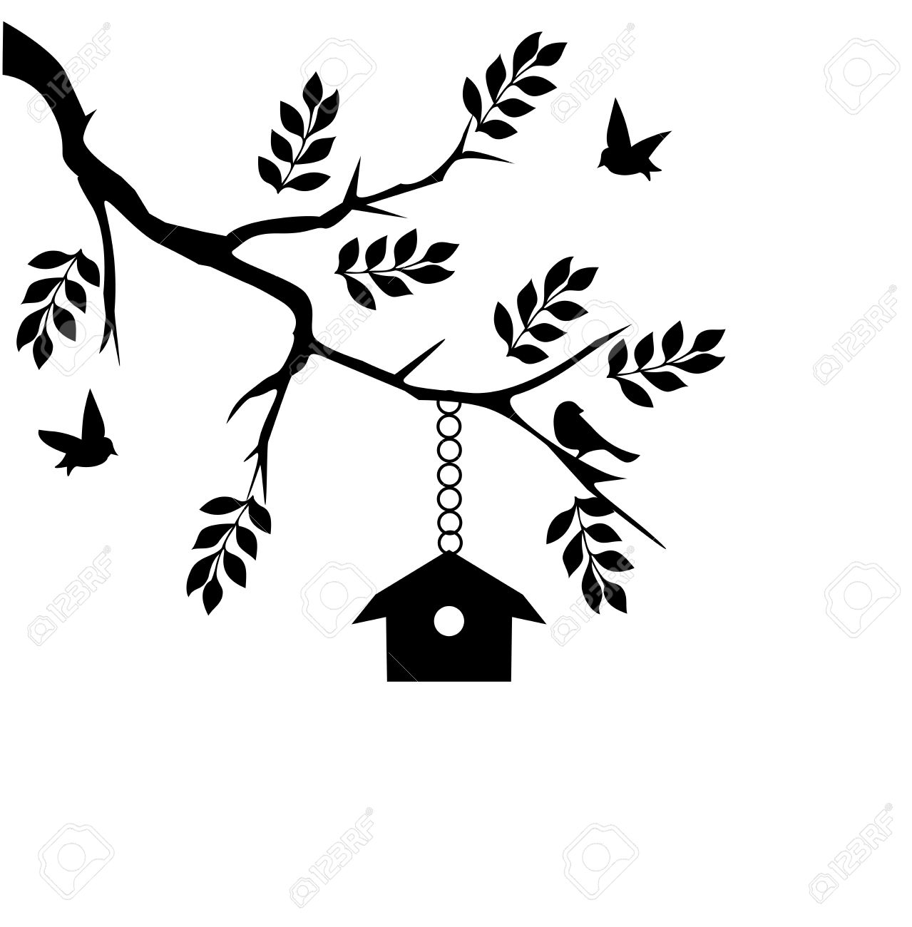 1279x1300 Bird House Clipart Tree Branch Clip Art