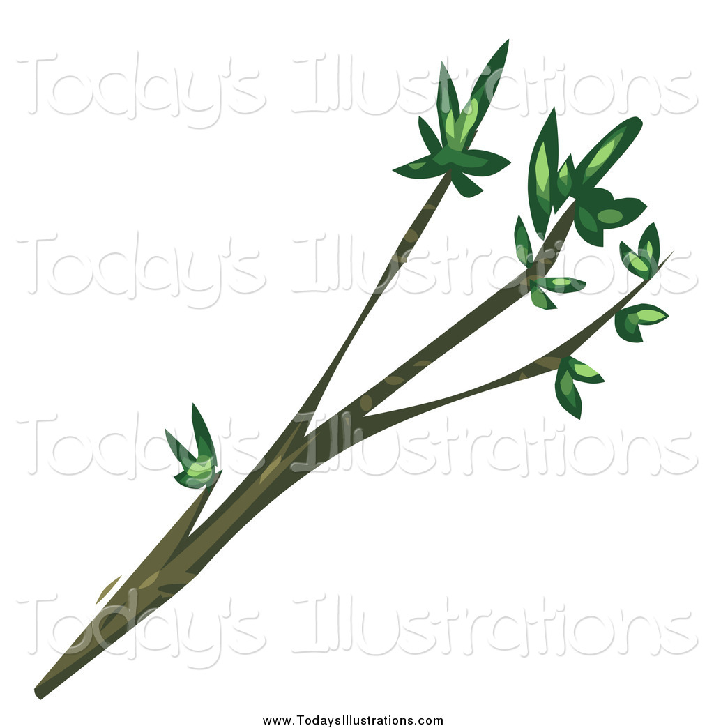 1024x1044 Clipart of a Tree Branch with Leaves on the Tips by Tonis Pan