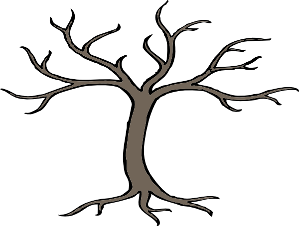 600x454 cartoon trees with branches Tree With 3 Branches clip art