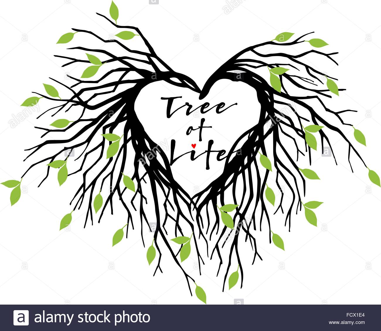 1300x1128 tree of life, heart shaped tree branches with green leaves, vector