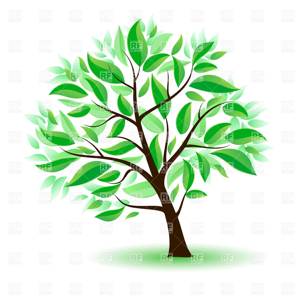 1200x1200 Cartoon Tree With Green Leaves Royalty Free Vector Clip Art Image