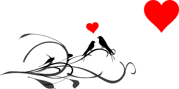 600x300 Love Birds On A Branch Clip Art