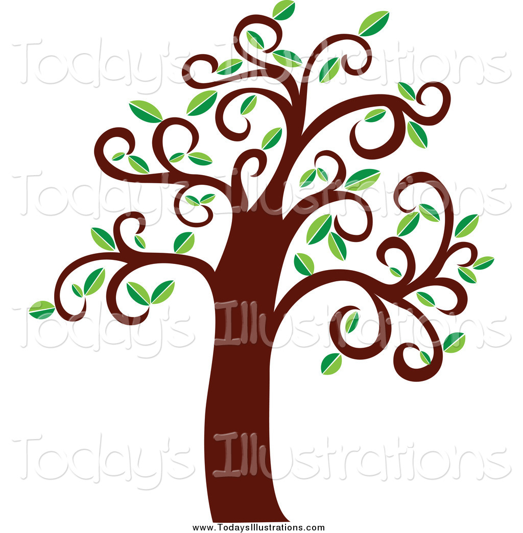 1024x1044 Clipart Of A Tree With Curly Branches By Vector Tradition Sm