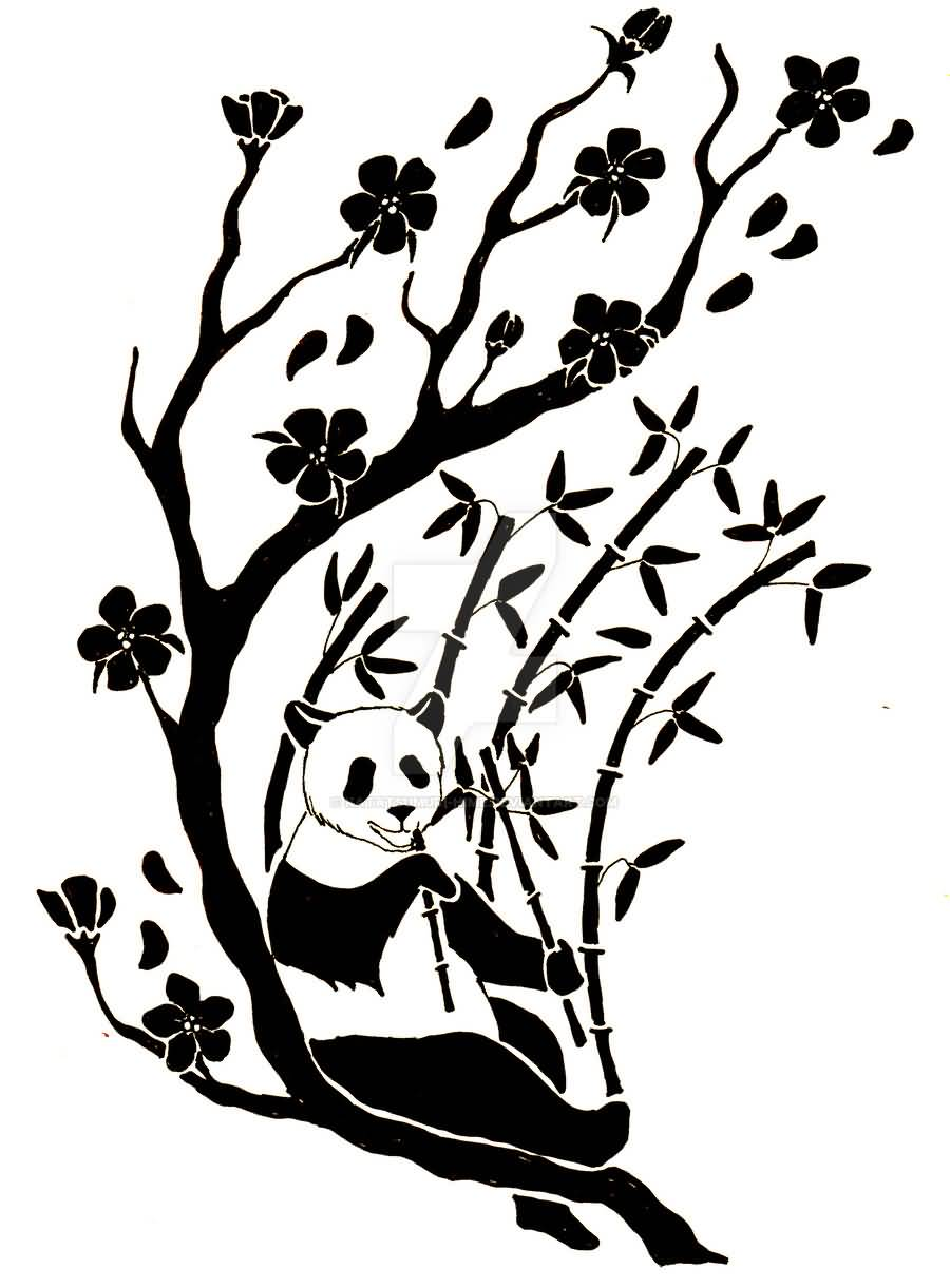 900x1221 Nice Tribal Panda Eating Bamboos With Flowers On Tree Branches