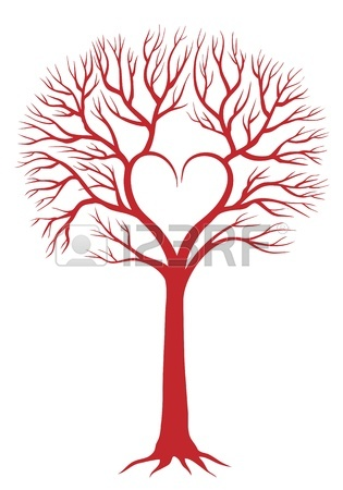 315x450 Red Love Tree With Heart Shaped Branches And Roots, Vector