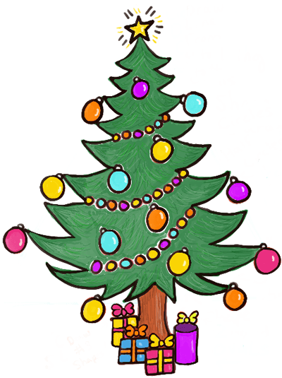 400x535 How to Draw a Christmas Tree with Gifts amp Presents Under it