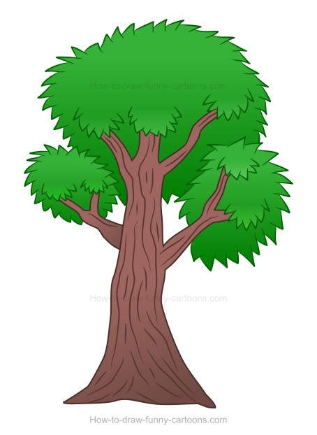 454x622 How To Draw A Cartoon Tree