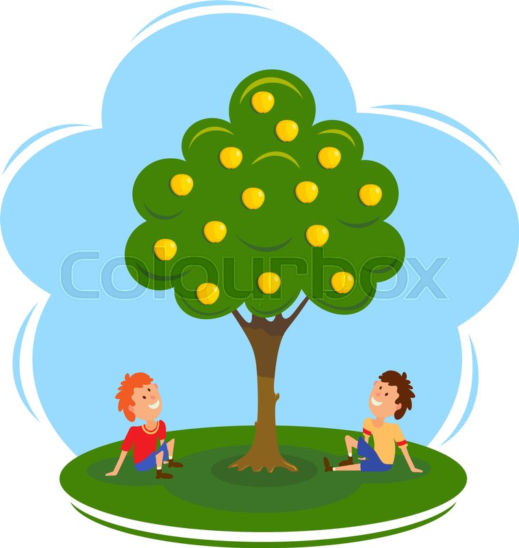 758x800 Boys Near The Apple Tree. Cartoon Vector Illustration Of An Apple