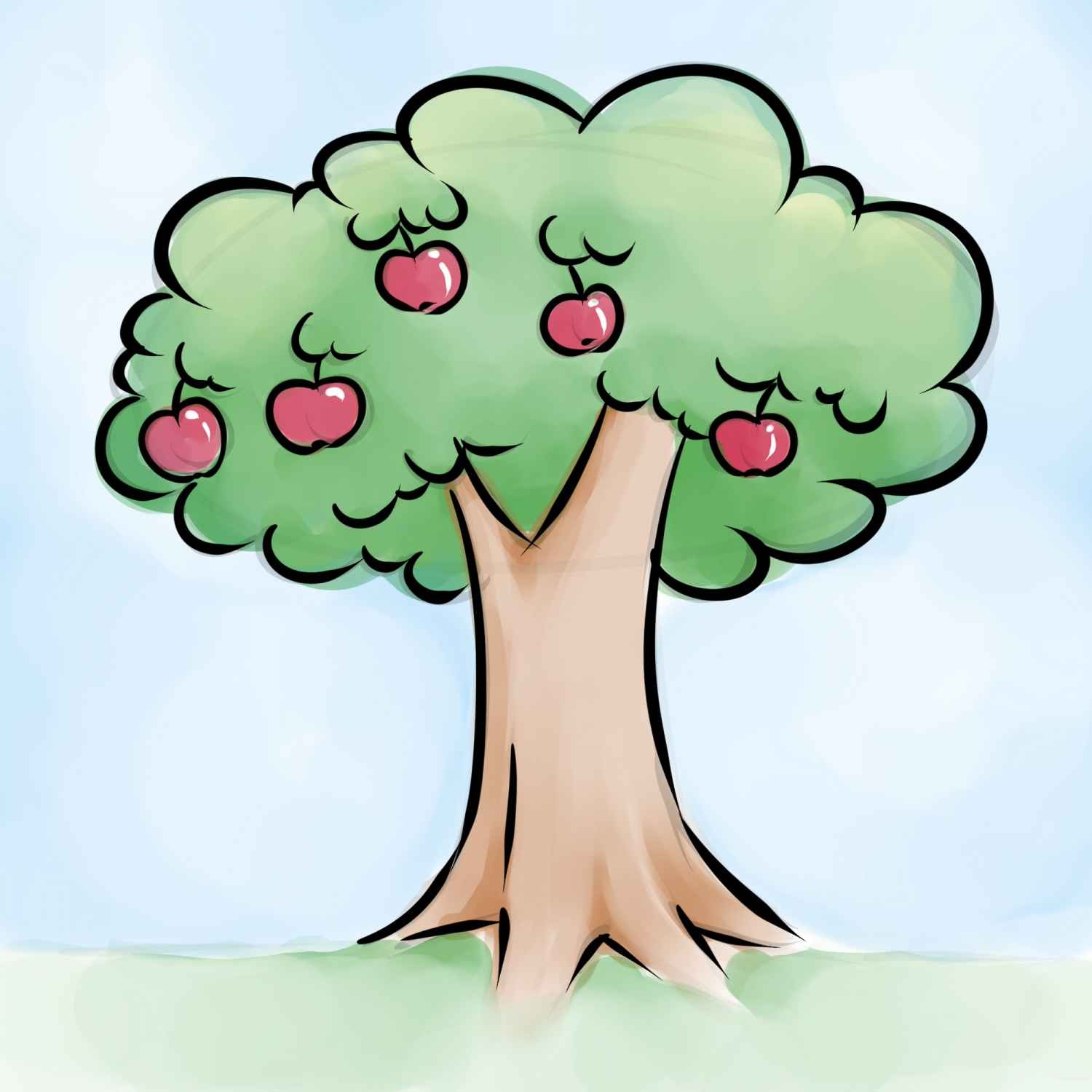 1500x1500 Cartoon Apple Tree Apple Tree Drawing, Apple Tree Cartoon
