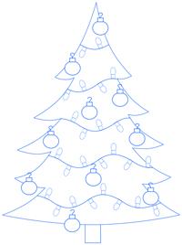 200x268 Cartoon Christmas Tree Step by Step Drawing Lesson