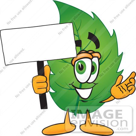 450x450 Cliprt Graphic Of Green Tree Leaf Cartoon Character Holding