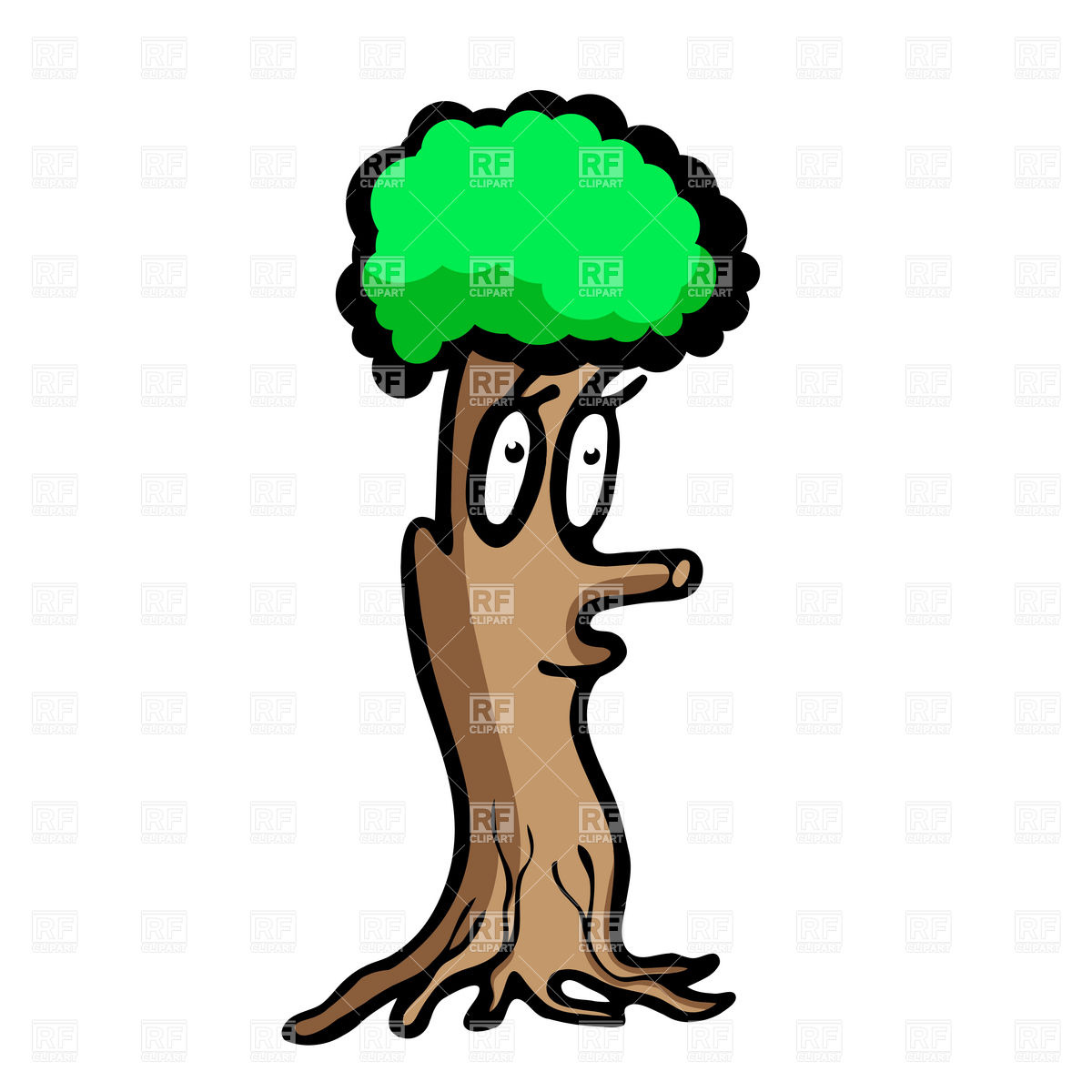 1200x1200 Funny Cartoon Tree With Face Royalty Free Vector Clip Art Image