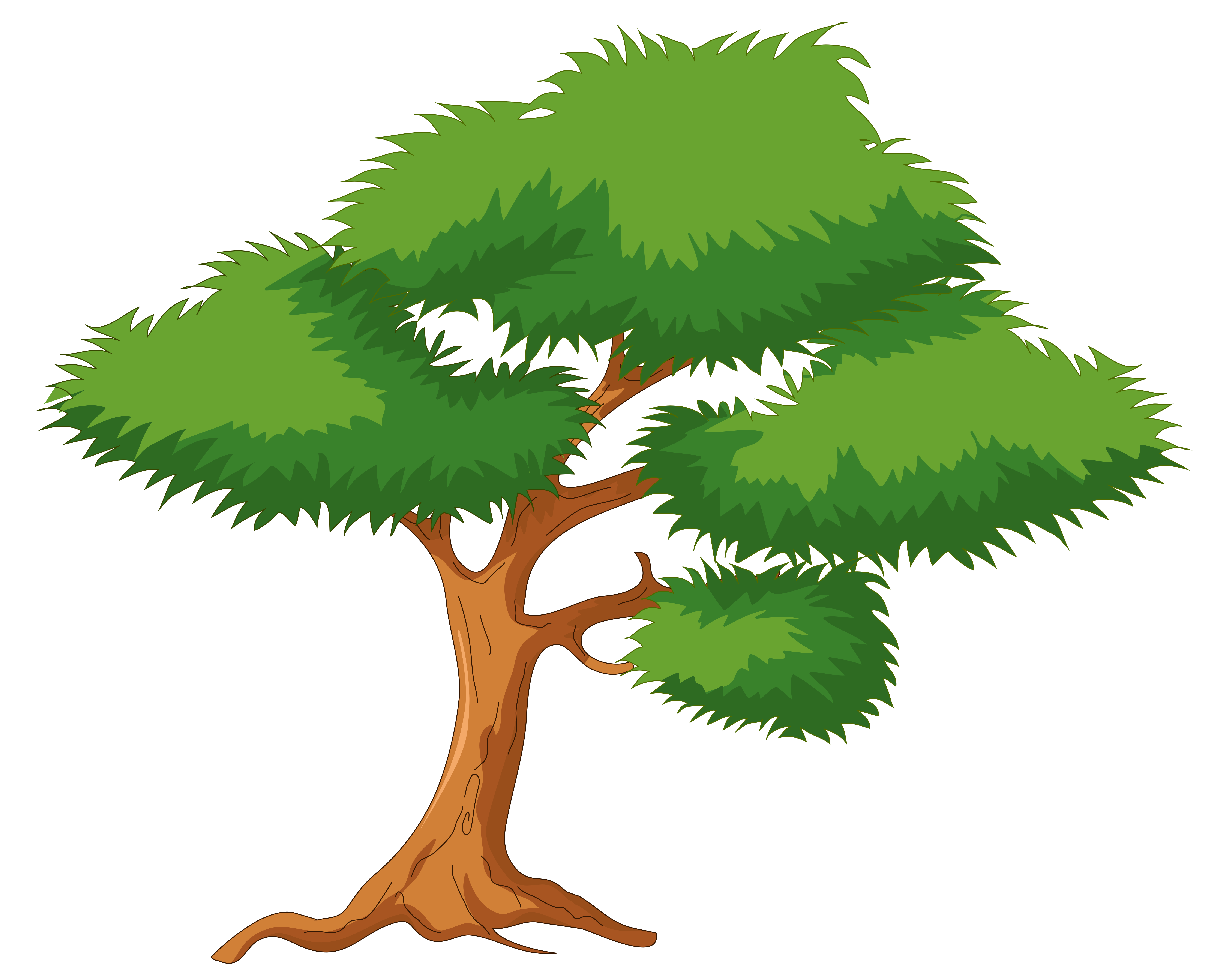 5637x4574 Green Cartoon Tree Png Clip Art
