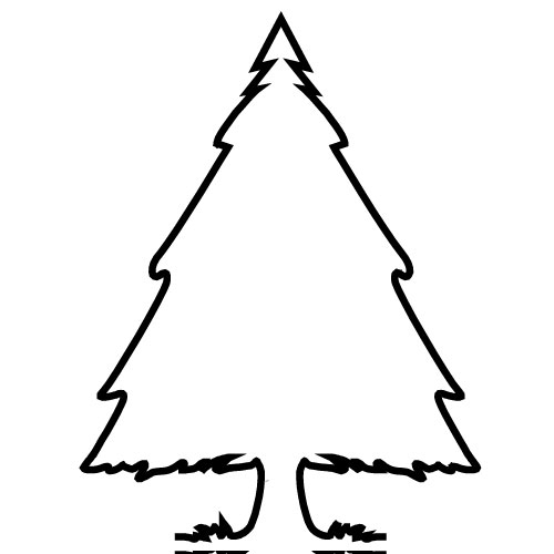 500x500 Evergreen Tree Clipart Black And White