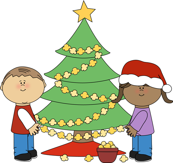 550x520 Kids Stringing Popcorn On Christmas Tree Clip Art