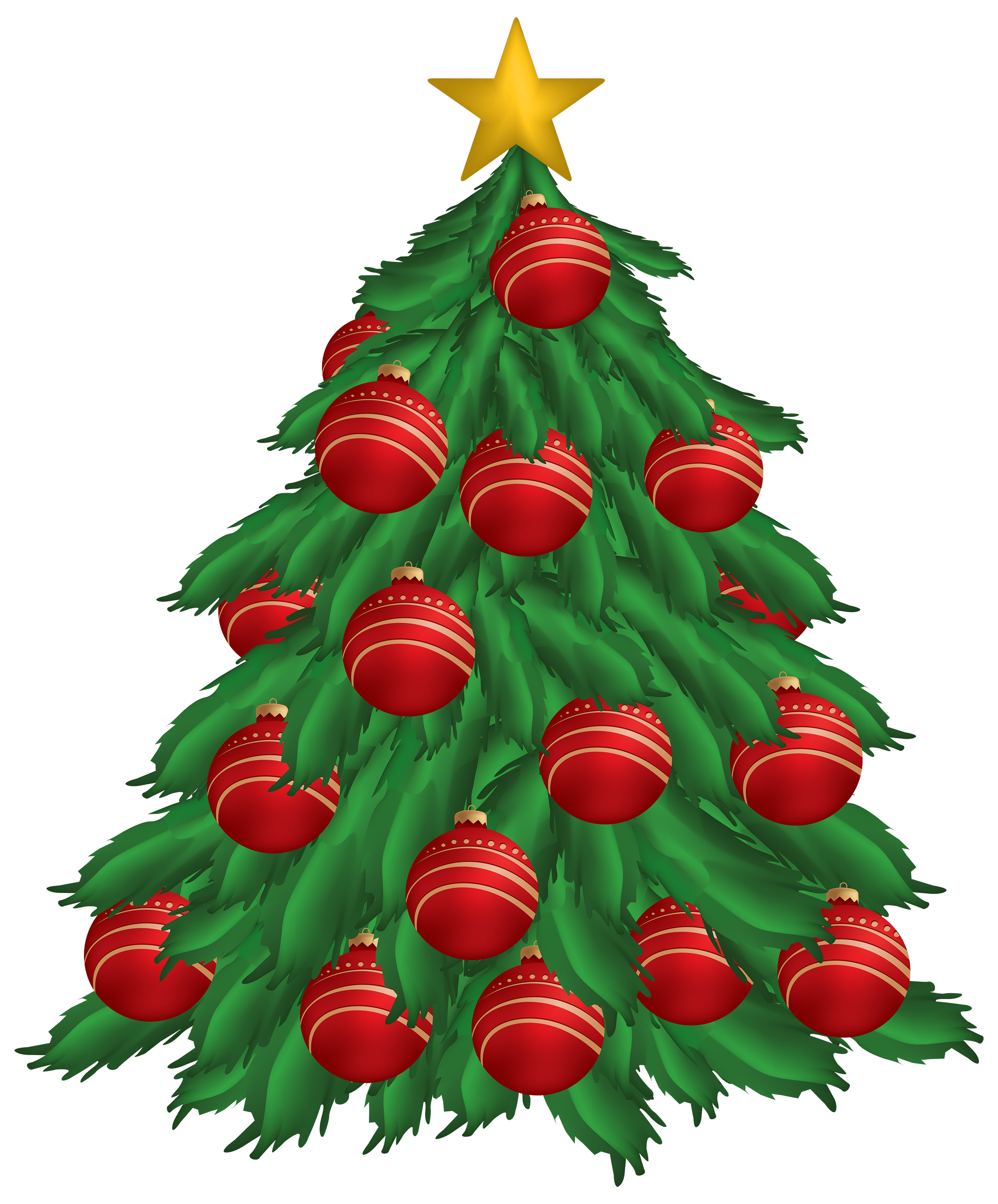 2500x3015 Christmas Tree With Red Christmas Ornaments Png Clipart