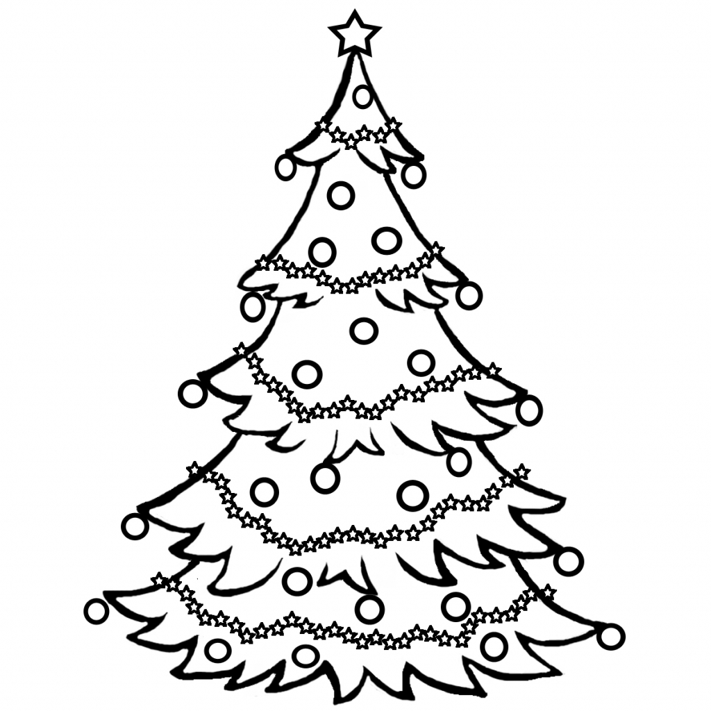 1024x1024 Simple Christmas Tree Drawing Christmas Tree Line Drawing