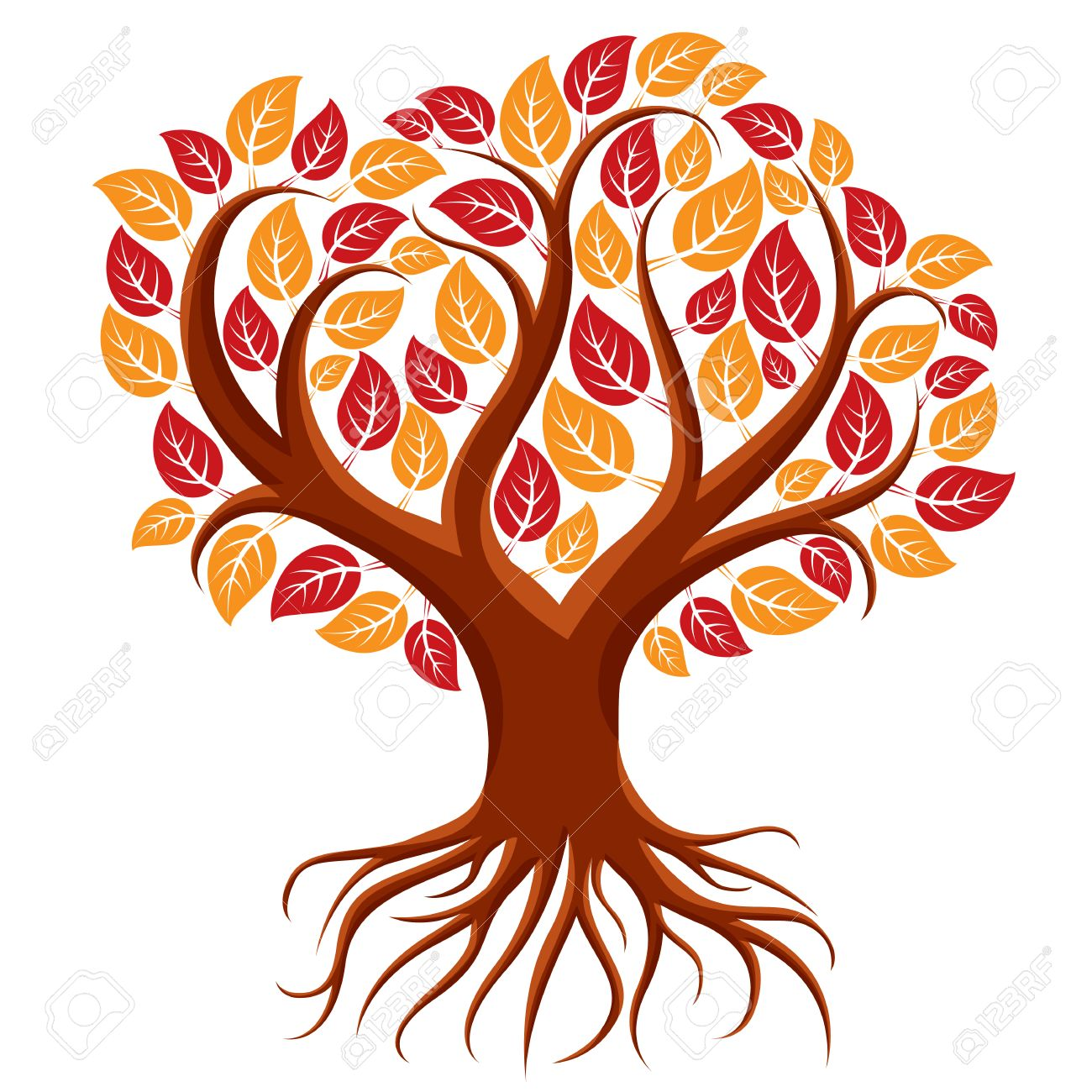 1300x1300 Vector Art Illustration Of Branchy Tree With Strong Roots. Tree