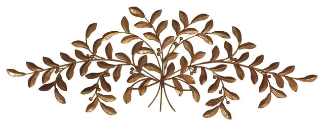 640x250 Large Gold Olive Branch Wall Iron, Iron Metal Plaque Leaf Tree Art
