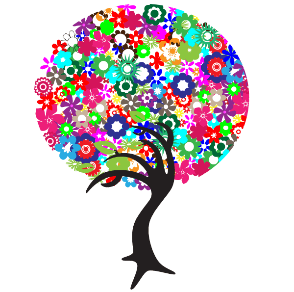 600x595 Free Colorful Flowers Tree, Vector Image