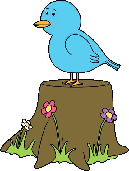 415x550 Bird On A Tree Stump Clip Art
