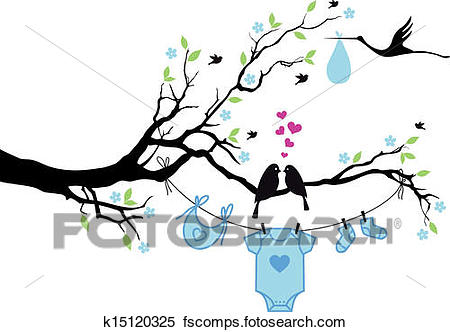 450x332 Clipart Of Baby Boy With Birds On Tree, Vector K15120325
