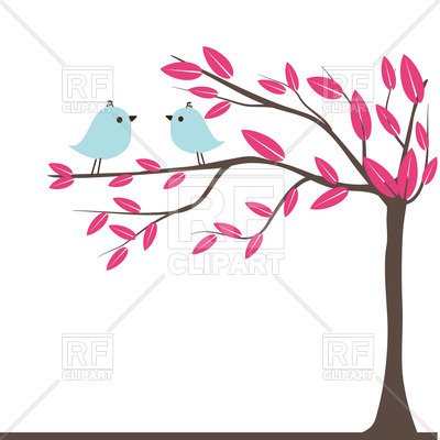 400x400 Couples Of Birds On Autumn Tree Royalty Free Vector Clip Art Image