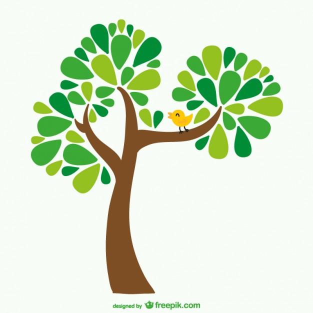 626x626 Tree And Bird Cartoon Vector Free Download